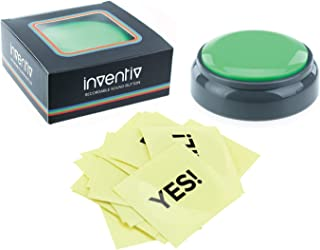 Inventiv 30 Second Custom Recordable Talking Button, Record & Playback Your Own Message, Quality Voice Sound Recorder - 15 Phrase Stickers Included (Green)