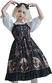 Retro Palace Print Dress Gothic Style Dress Jsk Design (Color : Twilight, Size : L)