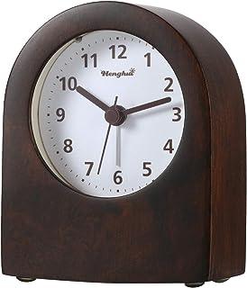DTKID Horloge Analogique en Bois avec Fonction Snooze,Réveil de Table Rétro avec Lumière et Alarme,Horloge Silencieuse Nat...