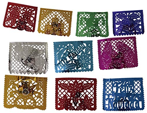 Mexican Papel Picado Xmas Banner - Metallic Plastic 16 ft Handcrafted Christmas Decoration Multicolored – 10 Individuals Panel Party Supplies For Weddings, Birthdays, Quinceaneras, & Holidays