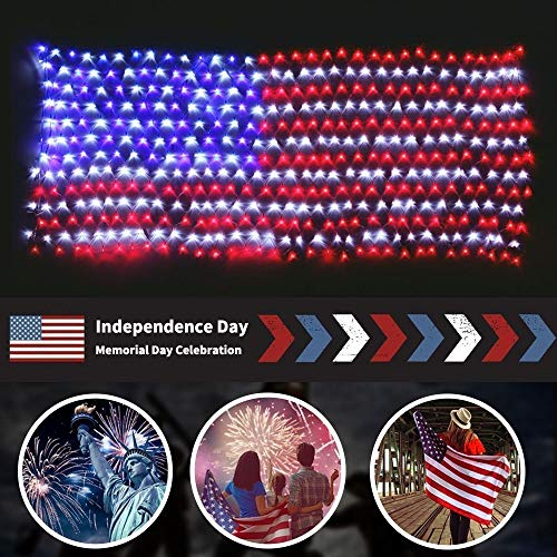 MZD8391 American Flag Lights, 420 Super Bright LEDs Flag Net Light,Waterproof US Flag Light for...