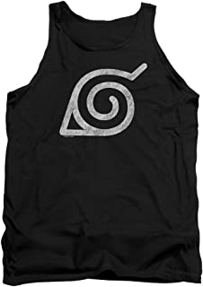 Naruto Shippuden Distressed Leaves Symbol Unisex Adult Tank Top for Men and Women