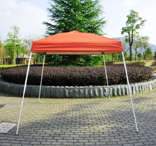 Outsunny Slant Leg Easy Pop-Up Canopy Party Tent, 8 x 8-Feet, Rust Red