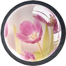 AITAI Set van 4 deurknop decoratieve handgreep roze tulp bloemblaadjes elegante toevoeging voor kast lade dressoir slaapkamer