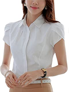 Double Plus Open DPO Women's Cotton Collared Pleated Button Down Shirt Short Sleeve Blouse