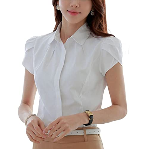 45e8e0691ba985 Double Plus Open DPO Women's Cotton Collared Pleated Button Down Shirt  Short Sleeve Blouse