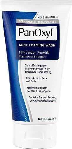 PanOxyl Acne Foaming Wash Benzoyl Peroxide 10% Maximum Strength Antimicrobial, 5.5 Oz