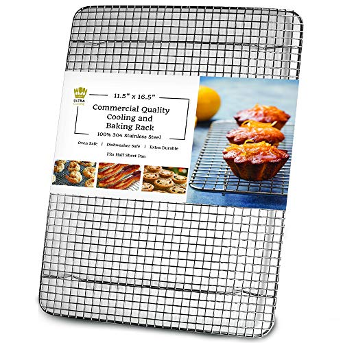 Ultra Cuisine 100% Stainless Steel Wire Cooling Rack for Baking fits Half Sheet Pans Cool Cookies, Cakes, Breads - Oven Safe for Cooking, Roasting, Grilling