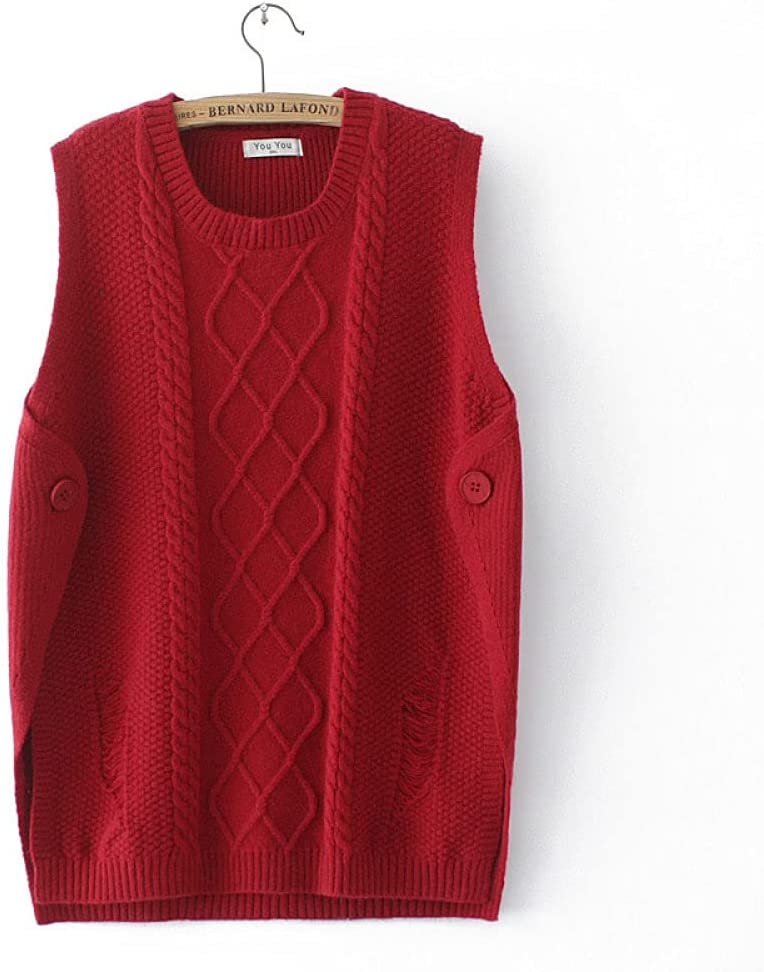 Sweater Vest,Women Knitted Gilets Sweaters Classic Fashion Round Neck Cable Knit Button Plus Size Casual Loose Cami Sleeveless Jumper Waistcoat Sweater Tank Top Winter Autumn ,Red,XXL