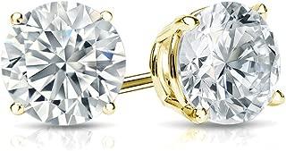 14k Gold Round Lab Grown Diamond Stud Earrings (1/4 to 1 1/4cttw, E-F, VS1-VS2) 4-Prong Basket, Push-backs by Diamond Wish