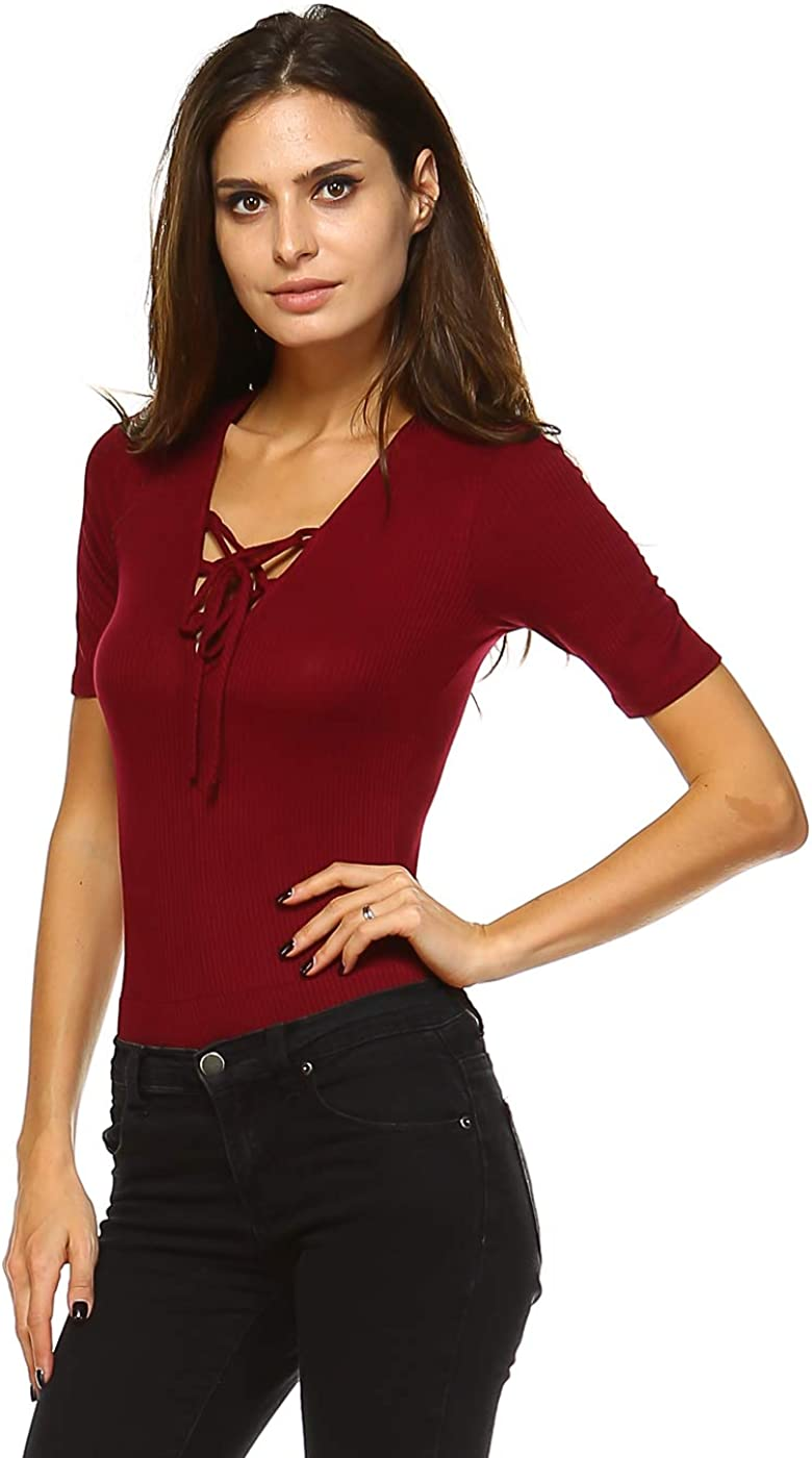 URBAN X Women's Soft Ribbed Solid Half Sleeve Lace up Bodysuit Color Burgundy (Small)