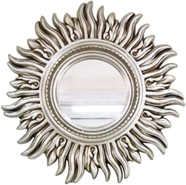 ALY Retro bathroom mirror European Style Frame Wall Hanging Mirror Round Antique Vanity Mirror Shaving Mirror Corridor Living Room Bedroom (gold Silver Bronze)