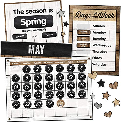 Schoolgirl Style Industrial Chic Bulletin Board Set—Farmhouse Monthly Calendar, Rustic Heart, Star, Cupcake Birthday and Special Occasion Accents, Seasons and Days of The Week Charts, (95 pc)
