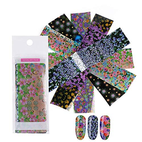 Nagel Art Folie, 16 Stks/Set Transfer Nagel Tips Kant Bloem Sterren Hemel Holografische Decals Nagelfolie Nagel Art Stickers Manicure Decor