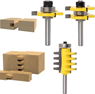 Y-luck Set of 3 Pcs 1/4-Inch Shank Router Bits, Tongue and Groove Router Bit With Finger Joint Router Bit For Doors, Tables, Shelves, Walls, DIY Woodworking