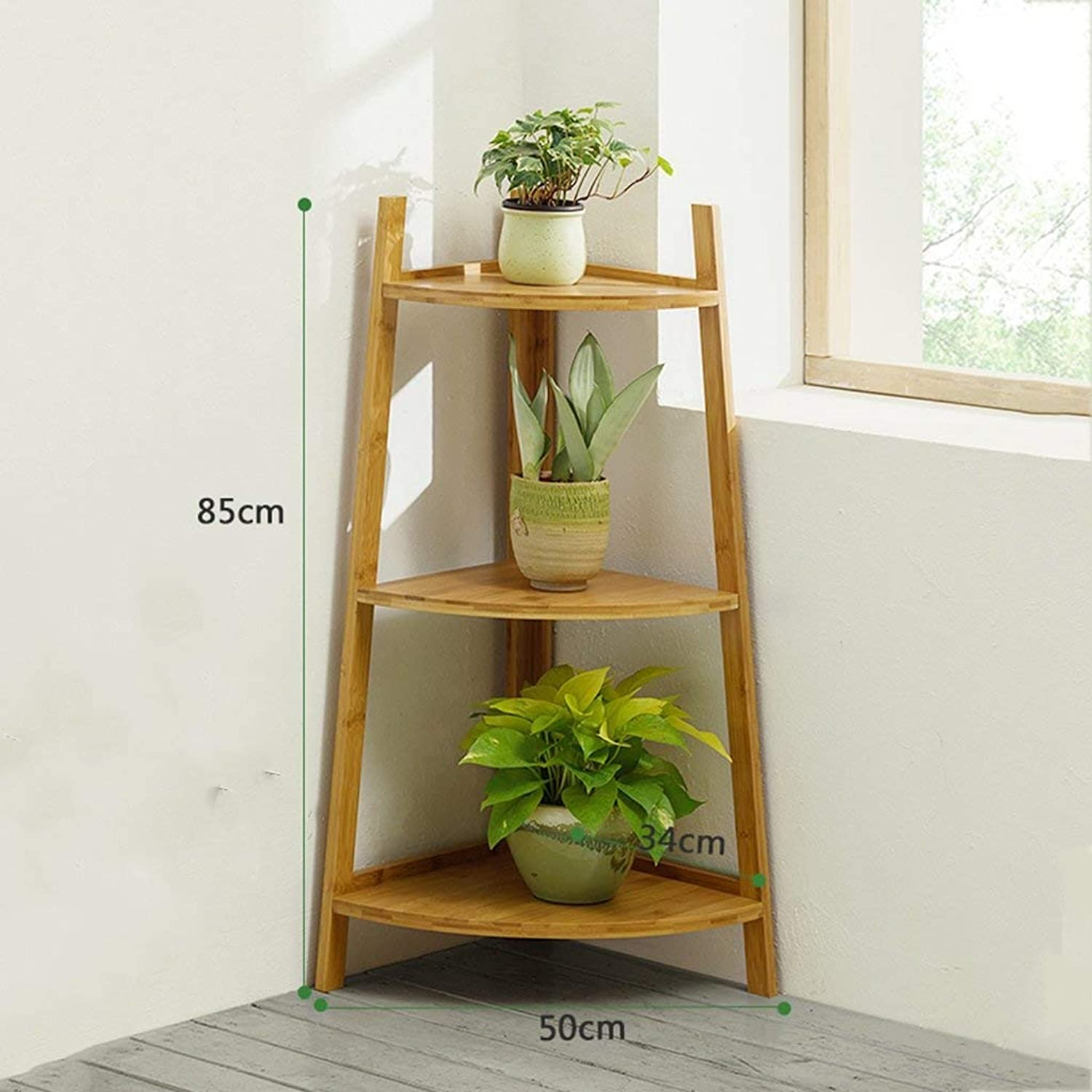 JZX Flower Stand, Bamboo Frame, Floor-Standing Multifunctional Plant Stand