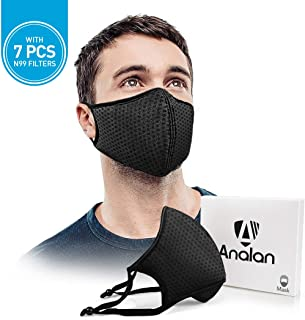 ANALAN Dust Mask Anti Air Pollution Mask N99 Washable Reusable Mouth Masks for Allergies Smoke Protection Fire Face Flu Pollen with 7Pcs N99 Mask Filter(Black Knight)