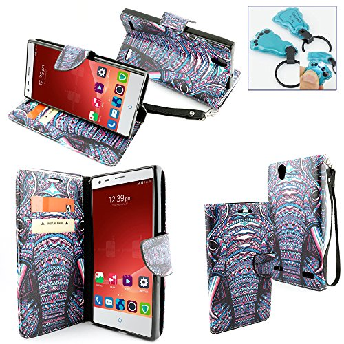 ZTE Warp Elite Case, Customerfirst Magnetic Leather Folio Flip Book Wallet Pouch Case With Fold Up Kickstand and Wrist Strap For ZTE Warp Elite (Boost Mobile) - Includes Key Chain (Indian Elephant)