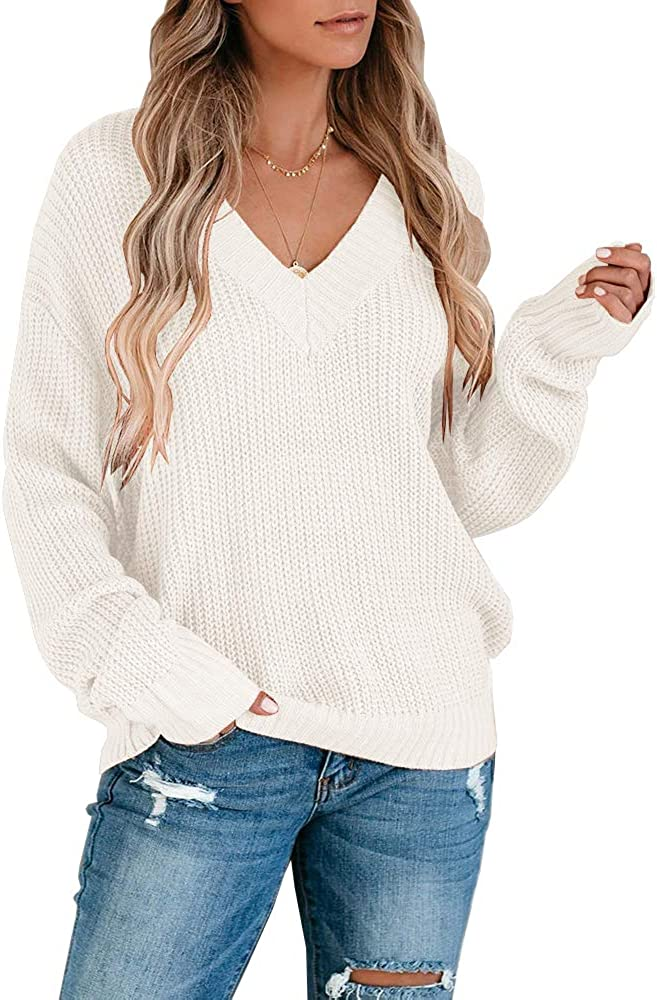 Foshow Womens V Neck Sweaters Oversized Long Sleeve Off Shoulder Ribbed Loose Knit Slouchy Pullover Jumper Tops