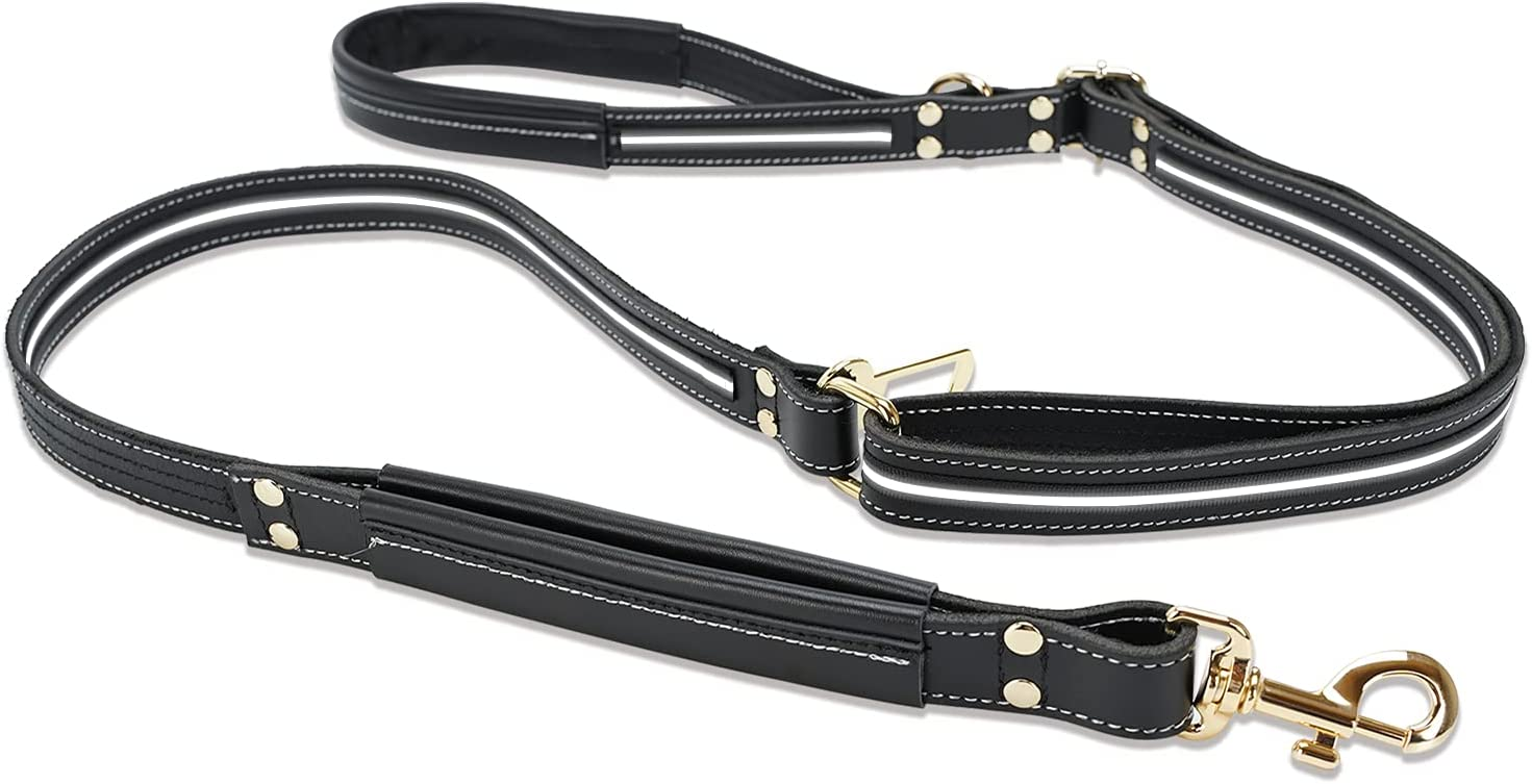 Cheap mail order shopping Leather Dog Leash Kansas City Mall Adjustable 5.4 - ft 6.5 Reflective Ha Double