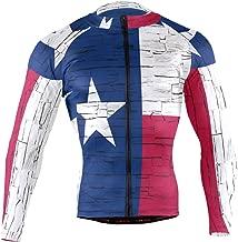 Distressed Texas State Flag Men's Cycling Jerseys Biking Shirts Long Sleeve Bike Clothing Full Zipper Bicycle Jacket