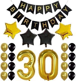 Crazy-M Deco cumpleaños número 30 Set de Globos de cumpleaños 30 Deco de Fiesta de cumpleaños para niña- Globo de Papel de Helio Inflable Banner de Feliz cumpleaños Globos de látex Globo