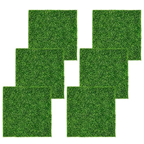 Artificial Lawn Grass,6 pieces Artificial Grass Mat,artificial moss decorative lawn grass miniature moss grass,Miniature Garden Ornament Artificial Grass,Garden Ornament 15 x 15 cm