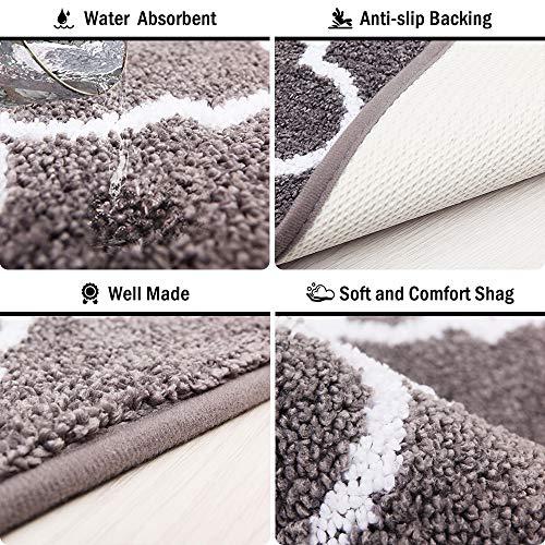 Carvapet 2 Pieces Kitchen Rugs and Mats Set Absorbent Soft Microfiber Bath Rug Moroccan Trellis Non-Slip Kitchen Mat Doormat Runner Set, 17