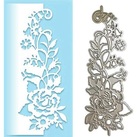 Bbl345dLlo Matrice de découpe en métal pour gaufrage, rose fleur bord latéral, matrices de découpe en métal DIY Scrapbook cartes papier album pochoir – Argenté