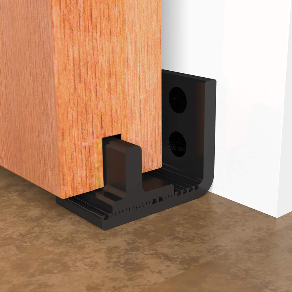 CCJH - Guía inferior de montaje en pared para puerta corredera tipo granero. Flexible, ajustable y de fácil instalación, color negro: Amazon.es: Bricolaje y herramientas