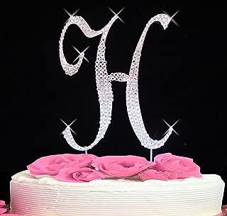 Letter H - Swarovski Crystal Monogram Wedding Cake Topper Letter
