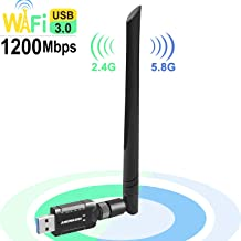 USB WiFi Adapter 1200Mbps for PC Desktop Laptop, Dual Band (2.4G/300Mbps+5G/866Mbps) Network LAN Card with High Gain Exter...