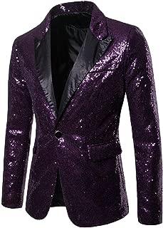 Sodossny-AU Men's 1-Button Nightclub Stylish Slim Fit Sequin Party Suit Blazer Jackets