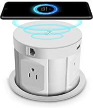 Automatic Pop Up Sockets,Retractable Recessed Power Strip,Pop Up Power Strip 4 Outlets,with Wireless Charger,2 USB Charging Ports, RJ45 Port,HDMI Port for Office Table and Workshop (White)