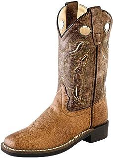 Old West Children Broad Square Toe Tan Vintage/Brown Crackle Cowboy Boot