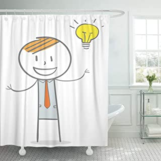 Sonernt Curtain Yellow Man Doodle Stick Figure Businessman Big Idea Character Shower Curtain Bathroom Decor,Polyester Mildew Durable Waterproof Curtain