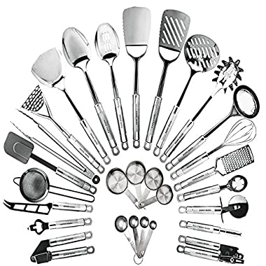HomeHero Kitchen Cooking Utensils Set - Kitchenware 29-Pieces Stainless Steel Cookware Gadgets including Spatula, Measuring Cups and Spoons