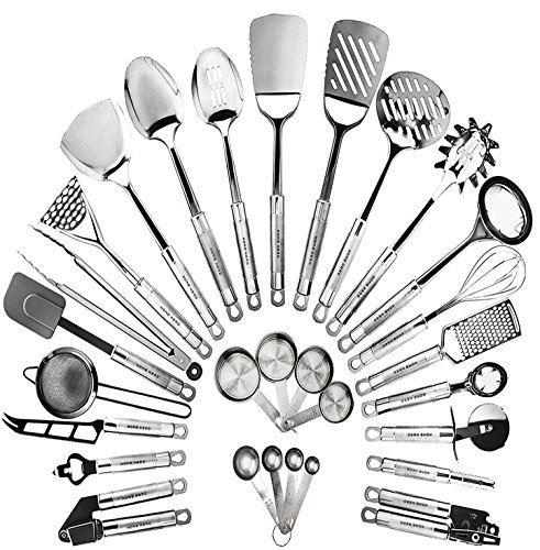 HomeHero Kitchen Cooking Utensils Set - Kitchenware 29-Pieces Stainless Steel Cookware Gadgets...