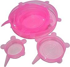 Wakerda 12 piezas Varios Tama/ños Tapas El/ásticas para Almacenar Alimentos Tapa Reutilizable de Silicona Fundas para Tazones Amarillo y Rosa