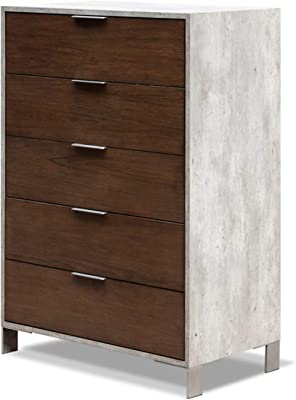 Limari Home Odin Collection Modern Style Faux Concrete Laminate Bedroom Chest With Oil Coated Veneer Fronts 5 Drawers, Brushed Stainless Steel Handles & Legs Gray & Dark Walnut