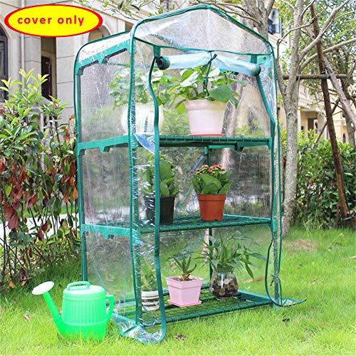 PVC Plant Greenhouse Cover, Portable Mini Cloche Greenhouse Waterproof Walk in Plant Green House Mini Greenhouse Replacement Cover 3 Tiers Greenhouse PVC Reinforced Replacement Cover(cover only)