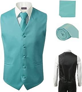 3 Pcs Vest + Tie + Hankie Turquoise Fashion Men's Formal Dress Suit Waistcoat