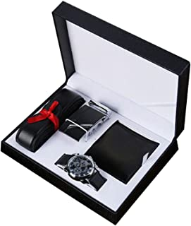 Amusingtao Wallet and Belt Gift Set for Men, Men's Gift Set 3 Pieces – Watch PU Wallet Belt Gift Set Wedding Anniversary Gifts
