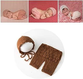 Linberfor Newborn Baby Infant Photography Props Boys Girls Knit Handmade Hat Pants Sets