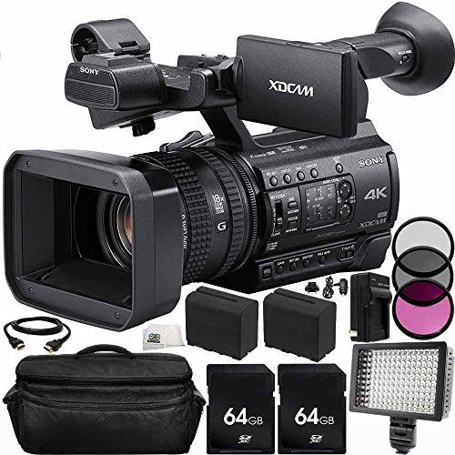 Sony PXW-Z150 4K XDCAM Camcorder 64GB Bundle 14PC Accessory Kit. Includes 2 64GB SD Memory Cards + 2 Replacement F970 Batteries + AC/DC Rapid Home & Travel Charger + More