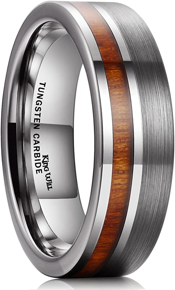 King Will Nature Tungsten Carbide Wedding Band 7mm Silver/Black Tungsten Ring with Wood Inlay Comfort Fit