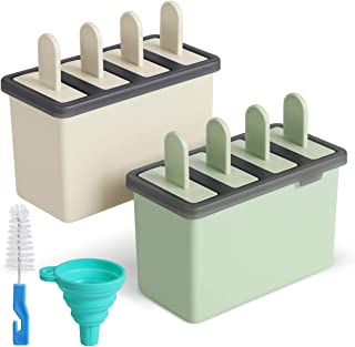 Kootek Popsicle Molds Sets 8 Ice Pop Makers Reusable Ice Cream Mold - Dishwasher Safe, Durable DIY Popsicles Tray Holders with Silicone Funnel, Cleaning Brush Kitchen Supplies(Beige and Green)