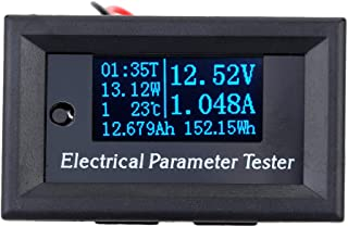 walmeck Voltage Meter,OLED Multi-functional 7-in-1 Electrical Parameter Meter Voltage Current Time Power Energy Capacity T...