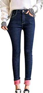 QKFON Leggings de mezclilla para mujer, para niñas, térmicas de forro polar, pantalones de mezclilla cálidos, ajustados, p...