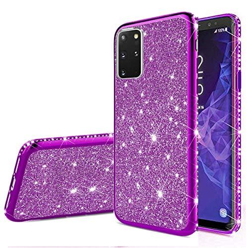 Nadoli Glitzer Hülle für Galaxy M31S,Luxus Ultradünne Funkeln Skin Weich Diamant Überzug Rahmen Glänzend Silikon Strass Etui Handyhülle Schutzhülle für Samsung Galaxy M31S